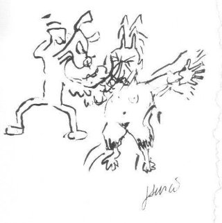 Dog Beating Pan AP HS Limited Edition Print by Jerry Garcia