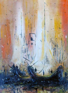 Boats At Wharf     1968 30x24 Original Painting - Danny Garcia