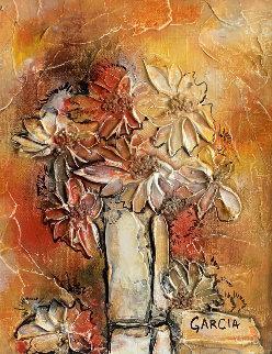 Untitled Floral Still Life 1972 10x8 Original Painting - Danny Garcia