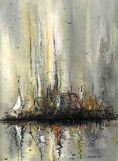 Untitled Sailboat Painting 1974 30x24 Original Painting by Danny Garcia