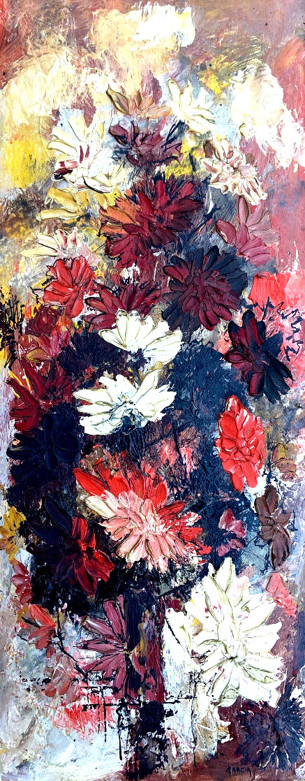 Untitled Floral Still Life 1966 27x13 Original Painting by Danny Garcia