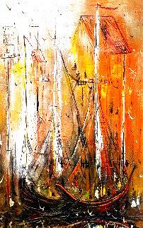 Untitled Seascape 1969 45x33 Huge Original Painting - Danny Garcia