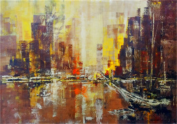 Untitled Cityscape 1963 24x36 Original Painting - Danny Garcia
