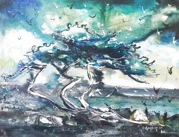 Cypress By the Sea 1969 24x30 Original Painting - Danny Garcia