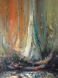 Monterey Fishing Ships 1968 24x18 Original Painting by Danny Garcia