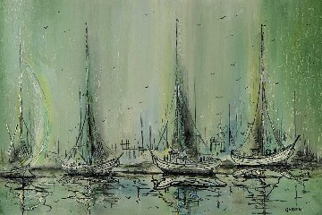 Untitled Sailboats 1983 25x37 Original Painting - Danny Garcia