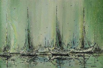Untitled (Sailboats) 1983 25x37 Original Painting - Danny Garcia