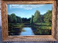 Untitled Landscape  (Pond) 25x35 Original Painting by Reid Gardner - 1