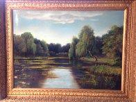 Untitled Landscape  (Pond) 25x35 Original Painting by Reid Gardner - 2