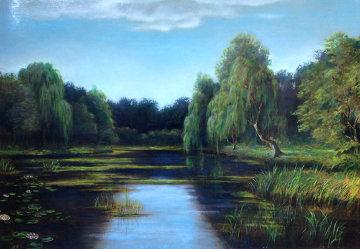 Untitled Landscape  (Pond) 25x35 Original Painting - Reid Gardner