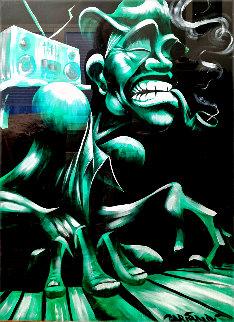 Untitled Portrait of Musician 2001 55x43 Super Huge Original Painting - David Garibaldi