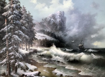 Untitled Winter Seascape 1989 35x45 Original Painting by Eugene Garin
