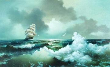Full Sail on Spanish Bay 1972 58x34 Super Huge Original Painting - Eugene Garin