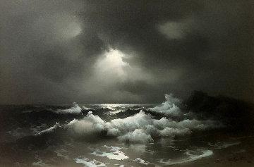 Evening Off Moss Beach 1974 30x40 Original Painting by Eugene Garin