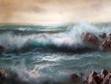 Untitled Seascape 1950 27x54 Very Early Work  - Eugene Garin