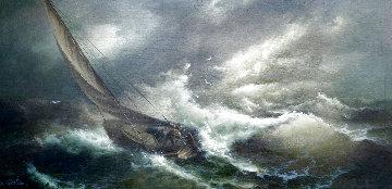 Power of the Sea 27x52 Huge Original Painting - Eugene Garin