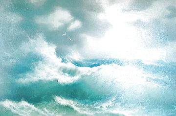 Untitled Seascape 31x43 Super Huge Original Painting - Eugene Garin