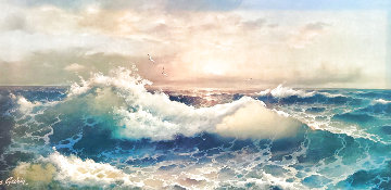 Untitled Seascape 1979 32x56 Super Huge Original Painting - Eugene Garin