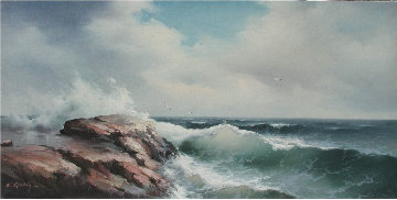Untitled Seascape 1966 24x48 (Early) Original Painting - Eugene Garin