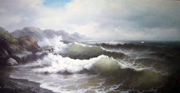 Seascape 1980 36x60 Super Huge Original Painting - Eugene Garin
