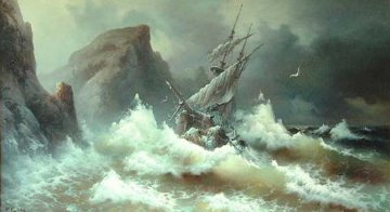 Rough Sea 1978 45x71 Original Painting - Eugene Garin
