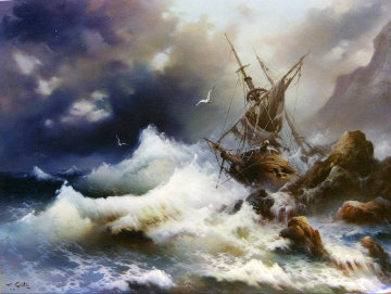 Shipwreck - Sea the Victory 40x50 Super Huge Original Painting - Eugene Garin