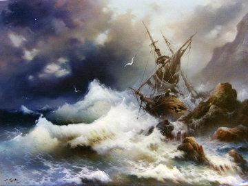 Shipwreck - Sea the Victory 40x50  Huge Original Painting - Eugene Garin