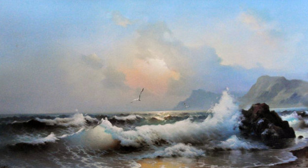 Untitled Seascape 1978 24x48 Original Painting by Eugene Garin