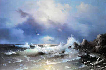 Unititled Seascape 1977 24x36 Original Painting - Eugene Garin