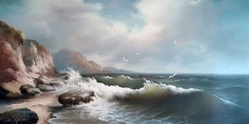 Untitled Seascape 1960 52x29 Original Painting by Eugene Garin