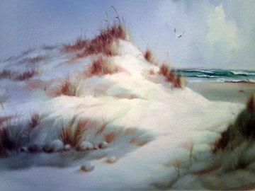 Untitled Winter Landscape 46x34 Super Huge Original Painting - Eugene Garin