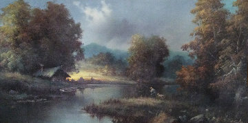 Restful Afternoon 1980 31x55 Original Painting by Eugene Garin