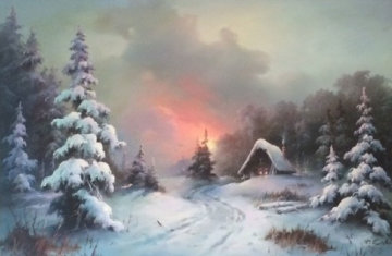 Cabin in the Snow 1970 46x34 Super Huge Original Painting - Eugene Garin