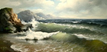 Shores 1970 29x53 Original Painting - Eugene Garin