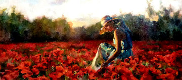 In the Red Sea of Flowers 30x50 Original Painting by Michael and Inessa  Garmash