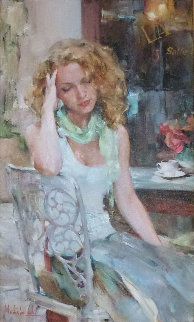 Green Scarf 41x29 Original Painting by Michael and Inessa  Garmash