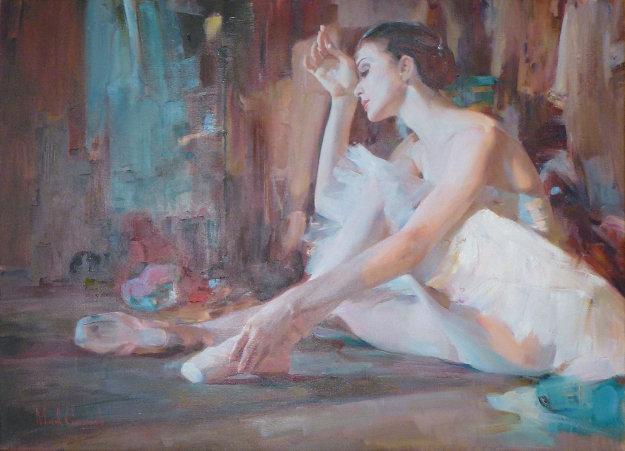 Ballerina 42x52 Original Painting by Michael and Inessa  Garmash