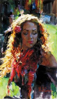 Her Warmth 38x28 Original Painting - Michael and Inessa  Garmash