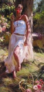 Quiet Moment 2005 47x23 Original Painting - Michael and Inessa  Garmash