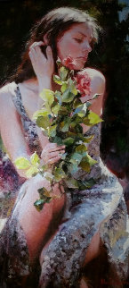 Thoughts and Roses 26x43 Original Painting - Michael and Inessa  Garmash