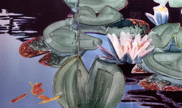 Waterlily Diptych Watercolor 1984 37x85 Original Painting by Gary Bukovnik