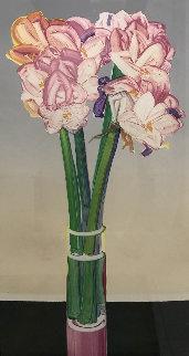 Pink Amaryllis Watercolor 1984 46x26 Huge Watercolor - Gary Bukovnik