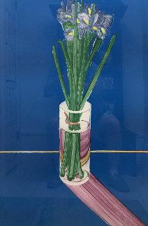Iris Watercolor and Monotype 48x36 Super Huge  Watercolor - Gary Bukovnik