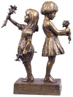 Flower Girls Bronze Sculpture 1996 24 in Sculpture - Gary Lee Price