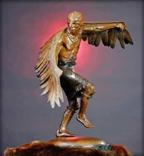 Winged Messenger Bronze Sculpture 1980 27x22 Sculpture by Gary Lee Price
