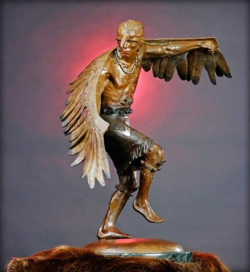 Winged Messenger Bronze Sculpture 1980 27x22 Sculpture by Gary Lee Price