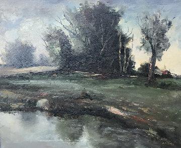 Untitled Landscape 1990 32x28 Original Painting by Jack  Gates