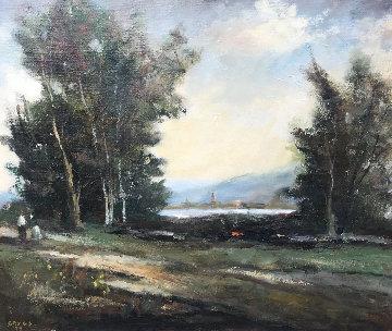 Untitled Landscape 1990 27x31 Original Painting by Jack  Gates