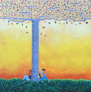 Romance Under The Gummi Tree 2018 36x36 Original Painting - Gaylord Soli  (Gaylord)