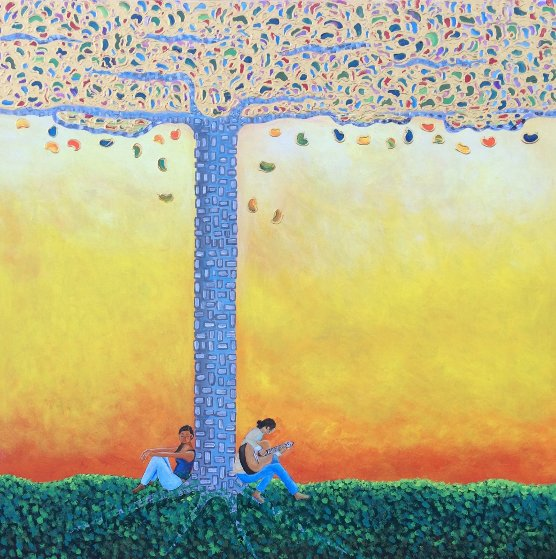 Romance Under The Gummi Tree 2018 36x36 Original Painting by Gaylord Soli  (Gaylord)